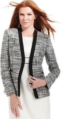 Kasper Jacket, Tweed Open-Front Blazer