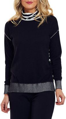Joan Vass Striped Mock-Neck Cotton Sweater