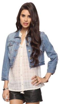 Forever 21 Headdress Crop Denim Jacket