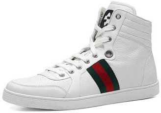 Gucci Leather High-Top Sneaker, White