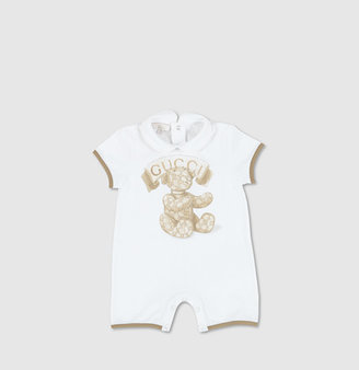 Gucci White Sleep Suit With Teddy Print