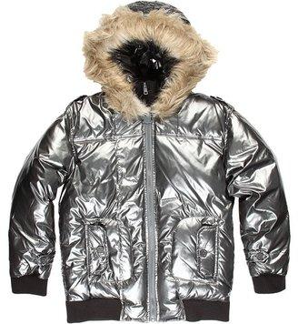 Appaman Kids - Fur Hood Double Zip Polar Jacket (Little Kids/Big Kids) (Pewter) - Apparel