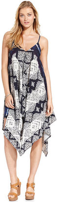DKNY Tribal-Print Draped Midi Dress