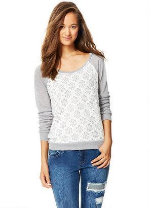 Delia's Lace Raglan Pullover