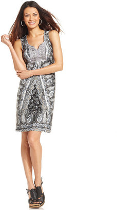 Style&Co. Petite Scarf-Print Embroidered Dress