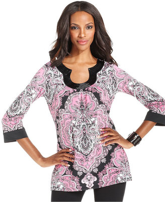 INC International Concepts Top, Three-Quarter-Sleeve Beaded Printed Tunic