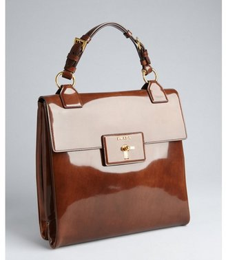 Prada tobacco patent leather turn lock tote bag