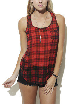 Wet Seal WetSeal Plaid Racerback Tank Red