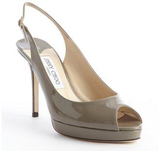 Jimmy Choo grey patent leather peep toe 'Nova' slingback pumps