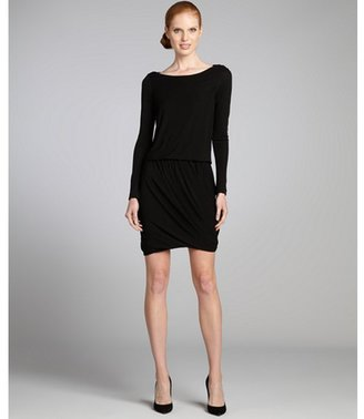 Under.ligne By Doo.ri Black Stretch Crepe Long Sleeve Pleated Bubble Skirt Dress