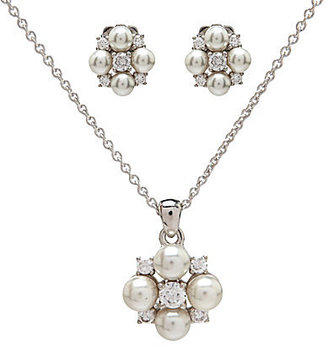Nadri Cluster Pearl & Crystal Earrings and Pendant Boxed Set