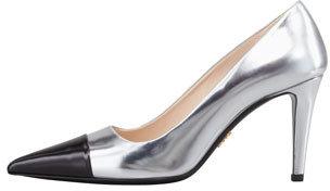 Prada Bicolor Metallic Cap-Toe Pump, Silver/Black