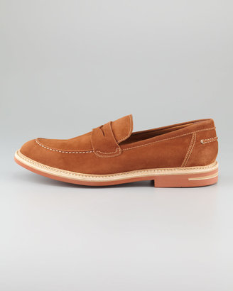 Bergdorf Goodman Contrast-Sole Suede Loafer