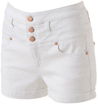 Tinseltown high-waist cuffed denim shortie shorts - juniors