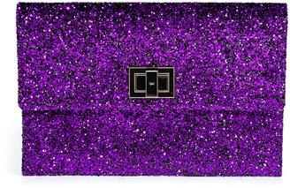 Anya Hindmarch Sparkling Plum Halo Glitter Valorie Clutch