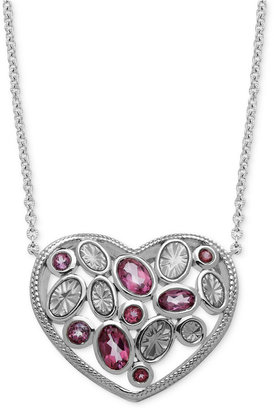 Town & Country Sterling Silver Necklace, Pink Topaz and Enamel Heart Pendant (1-7/8 ct. t.w.)