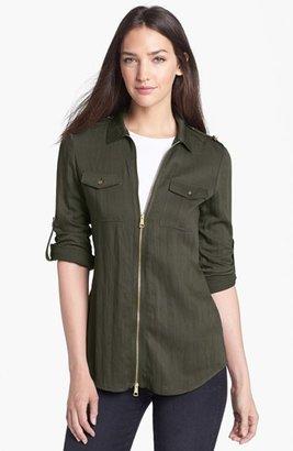 Burberry Roll Sleeve Crinkled Twill Shirt Jacket