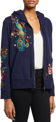 Johnny Was Shula Embroidered Modern Zip-Up Hoodie