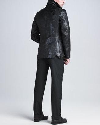 Giorgio Armani Crocodile-Embossed Lambskin Jacket