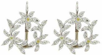 Cathy Waterman Circle of Diamond Flowers Earrings - Platinum