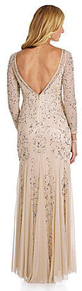 Adrianna Papell Long-Sleeve Beaded Gown