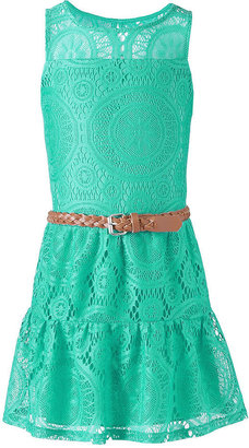 Sequin Hearts Girls Dress, Girls Belted Illusion Lace Dress