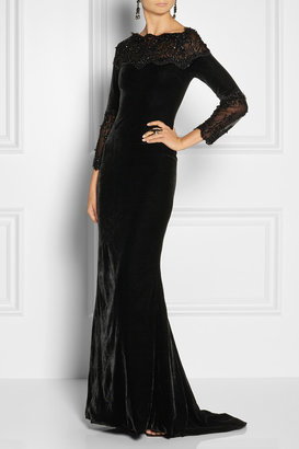 Marchesa Embellished lace-trimmed velvet gown
