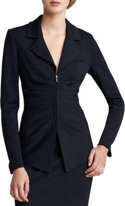 St. John Milano Knit Ruched Zip-Front Jacket