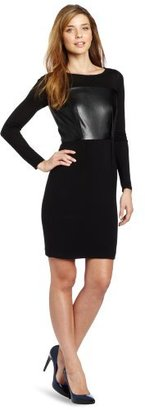 DKNY DKNYC Women's Long-Sleeve System Dress with Faux Leather