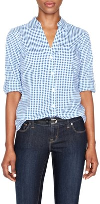 The Limited Gingham Faux Button-Back Cotton Shirt