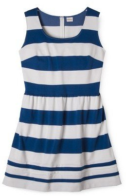 Merona Women's Plus Size Short Sleeve Ponte Dress Blue/Cream