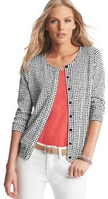 LOFT Square Spot Print Pima Cotton Cardigan
