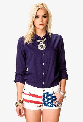 Forever 21 linen-blend button tab shirt