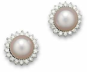 Bloomingdale's Cultured Akoya Pearl Stud Earrings with Diamonds in 14K White Gold, 6.5mm