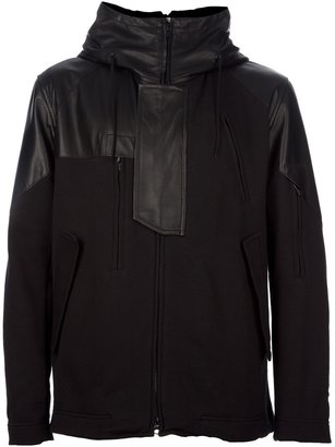 Y-3 hooded leather jersey jacket