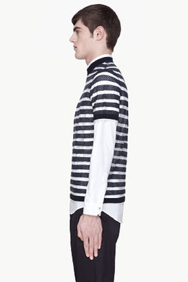 Kenzo Navy and sheer striped knit t-shirt