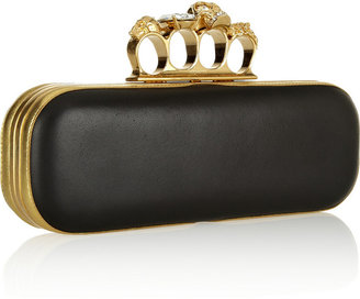 Alexander McQueen Knuckle crystal-embellished leather box clutch