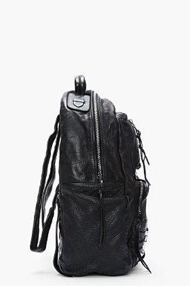 Neil Barrett Blackl treated leather biker backpack