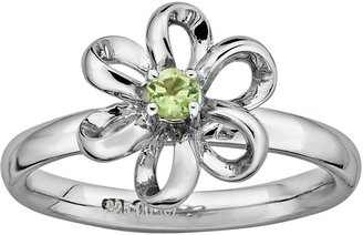 Stacks & Stones Sterling Silver Peridot Flower Stack Ring