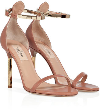 Valentino Soft Hazel/Gold Leather Sandals