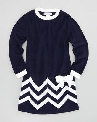 Florence Eiseman Zigzag-Border Long-Sleeve Shift Dress, Sizes 4-6X