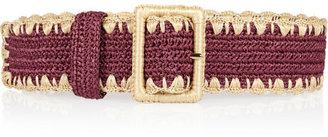 Dolce & Gabbana Woven raffia and leather waist belt