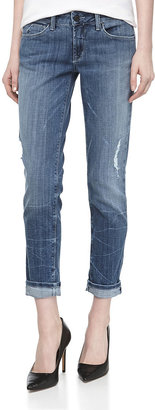 Fade to Blue Distressed Light-Wash Skinny-Crop Jeans