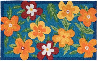 Nourison Blue Floral Utility Rectangular Rug
