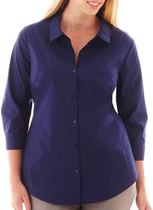 JCPenney Worthington 3/4-Sleeve Shirt - Plus