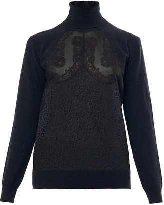 Stella McCartney Swarl lace roll-neck sweater