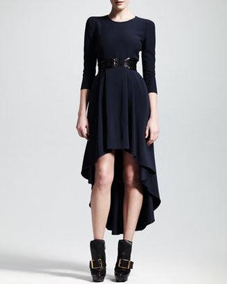 Alexander McQueen Leaf Crepe High-Low Dress