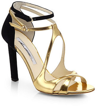 Brian Atwood Hester Metallic Leather & Suede Sandals