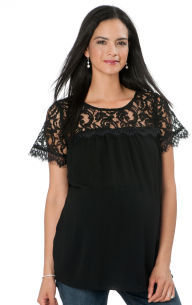 A Pea in the Pod Ella Moss Short Sleeve Embroidery Maternity Blouse