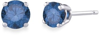 14K White Gold, Round, Blue Diamond 4-Prong Stud Earrings $139.99 thestylecure.com